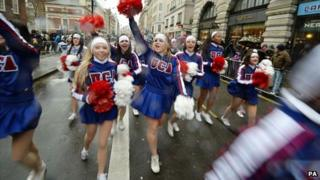 Cheerleaders taking part in the London New Year parade