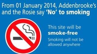 Smoking ban sign at Addenbrooke's Hospital