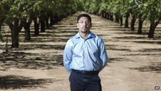 Sergio Garcia is seen in an almond orchard in Durham, California, on 29 June 2012.
