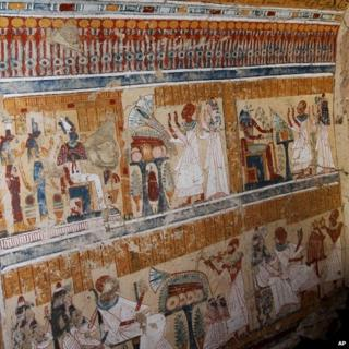 Coloured inscriptions on a newly discovered tomb in Luxor