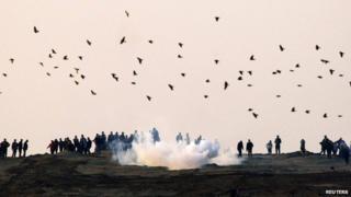Demonstrators at the Gaza border fence - 3 January