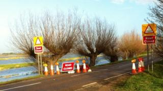 The B1040 between Whittlesey and Thorney shut due to high river levels