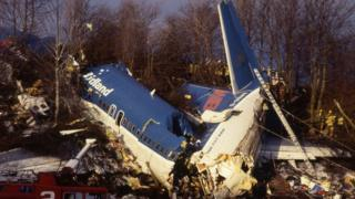 The remains of British Midland flight 92 the morning after the crash