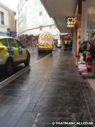 Cordoned off scene at Tesco Express