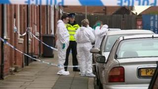 Police attending the incident in Down Street, Belgrave