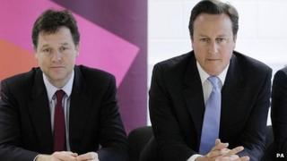 Nick Clegg, left, with David Cameron, right