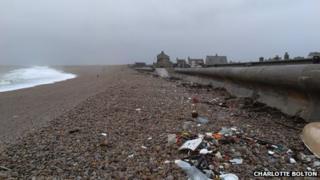 Litter on Chesil Beach