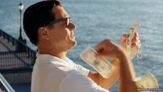 Leonardo DiCaprio as Jordan Belfort in The Wolf of Wall Street