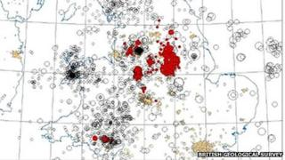 Map showing seismic activity across Britain