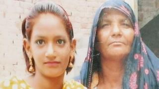 File photo of Iram (left) with a family member in Lahore