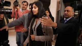 Indian diplomat Devyani Khobragade meets reporters in Delhi, 11 January 2014