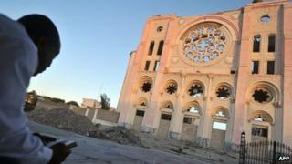 Port-au-Prince cathedral in ruins