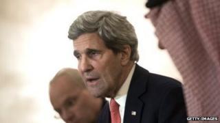 US Secretary of State John Kerry speaks at a meeting in Saudi Arabia on January 5, 2014.