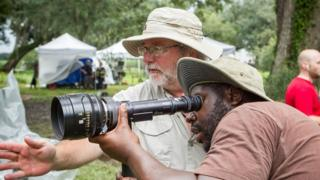 Sean Bobbitt (left) with Steve McQueen on location making 12 Years a Slave
