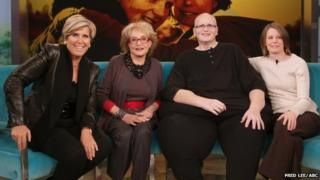 Suze Orman, Barbara Walters, Paul Mason and Rebecca Mountain on The View