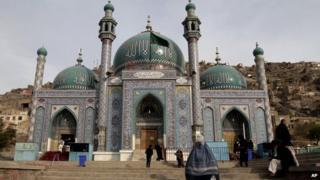 Afghan Shias visit the Karti Sakhi shrine in Kabul