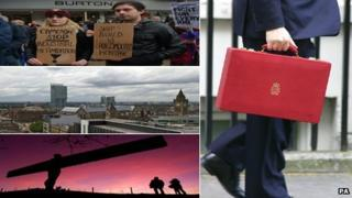 Shipyard protests in Portsmouth, the Manchester skyline and the Angel of the North