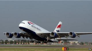 A380 superjumbo taking off