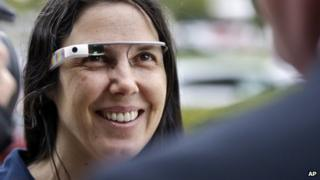 Cecilia Abadie wears her Google Glass outside a San Diego, California, court on 3 December 2013