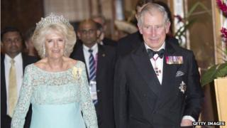 The Prince of Wales (right) and the Duchess of Cornwall in Sri Lanka on 15 November 2013