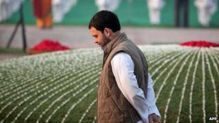In this photograph taken on November 14, 2013, Congress Party Vice-President Rahul Gandhi walks as he pays his respects at Shantivana memorial for first Indian Prime Minister and his great grandfather Jawahar Lal Nehru in New Delhi.