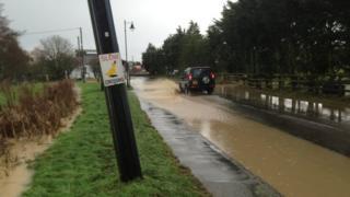 A flooded road in Battlebridge