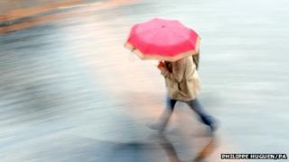 Woman with umbrella in rain