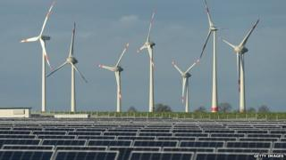 Wind turbines and solar panels near Werder, Germany - file pic