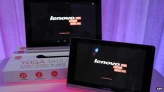 Lenovo tablets on display
