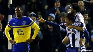 West Bromwich Albion's Diego Lugano celebrates his goal against Everton