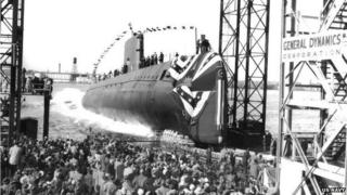 Crowds watching the launch of USS Nautilus