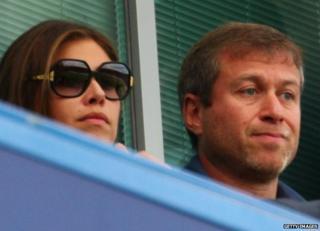 Dasha Zhukova and Roman Abramovich watch Chelsea play at Stamford Bridge, 17 August 2008