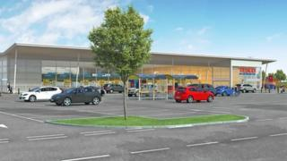 Artist's impression of new Tesco in Stanley