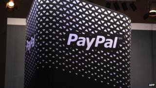 PayPal logo displayed on a screen