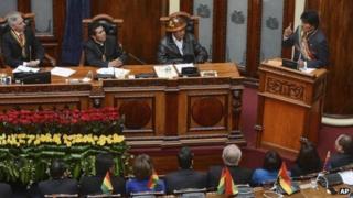 Evo Morales in the Congress Building, La Paz