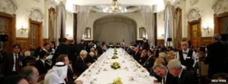 Lunch during a break in the Geneva II peace talks in Montreux on 22 January 2014