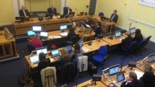Aerial shot of HIA inquiry hearing