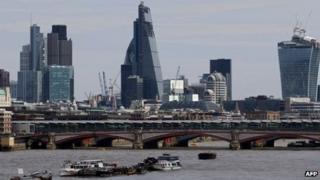 Skyline of London's financial district