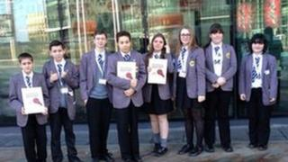 Group of School Reporters outside BBC North's MediaCity HQ