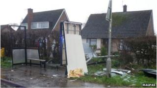 Bus shelter damaged by flying shed during storm in Peterborough