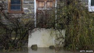 Flood waters in Thorney, Somerset