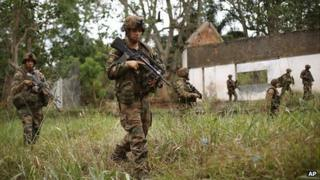 French troops search the Kasai camp after Seleka Muslim militias evacuated Bangui, Central African Republic on 28 January