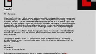 Letter from Ladar Levison