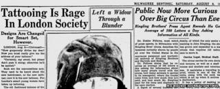 "Milwaukee Sentinel headline reading: ""Tattooing is Rage in London Society"""