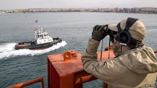 Norwegian frigate Helge Ingstad in Latakia