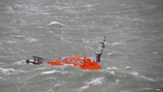 Padstow lifeboat in heavy seas