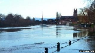 Worcester in flood