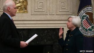 Janet Yellen swearing the oath