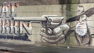 Great Western gun graffiti in Dorchester