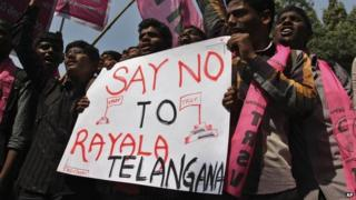 Protests against Telangana state in India